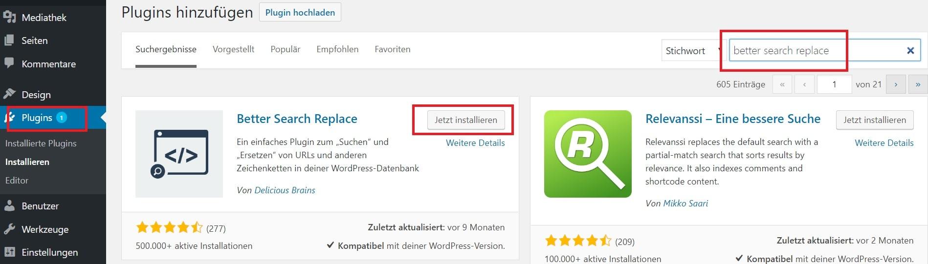 Wordpress auf HTTPS umstellen - better search replace downloaden