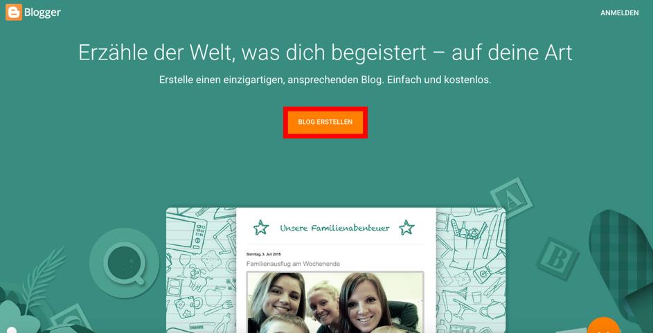 Startseite von Blogger