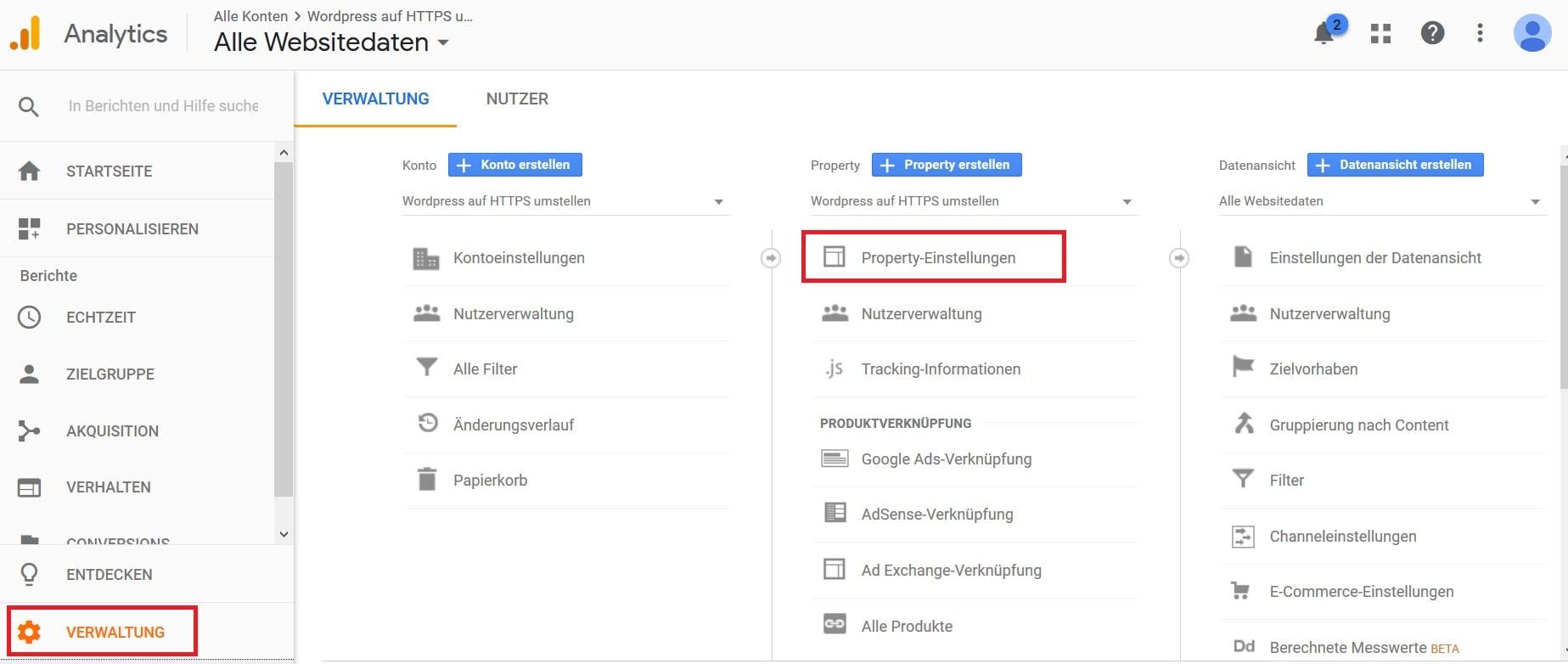 Wordpress auf HTTPS umstellen - Google Analytics anpassen Schritt 1
