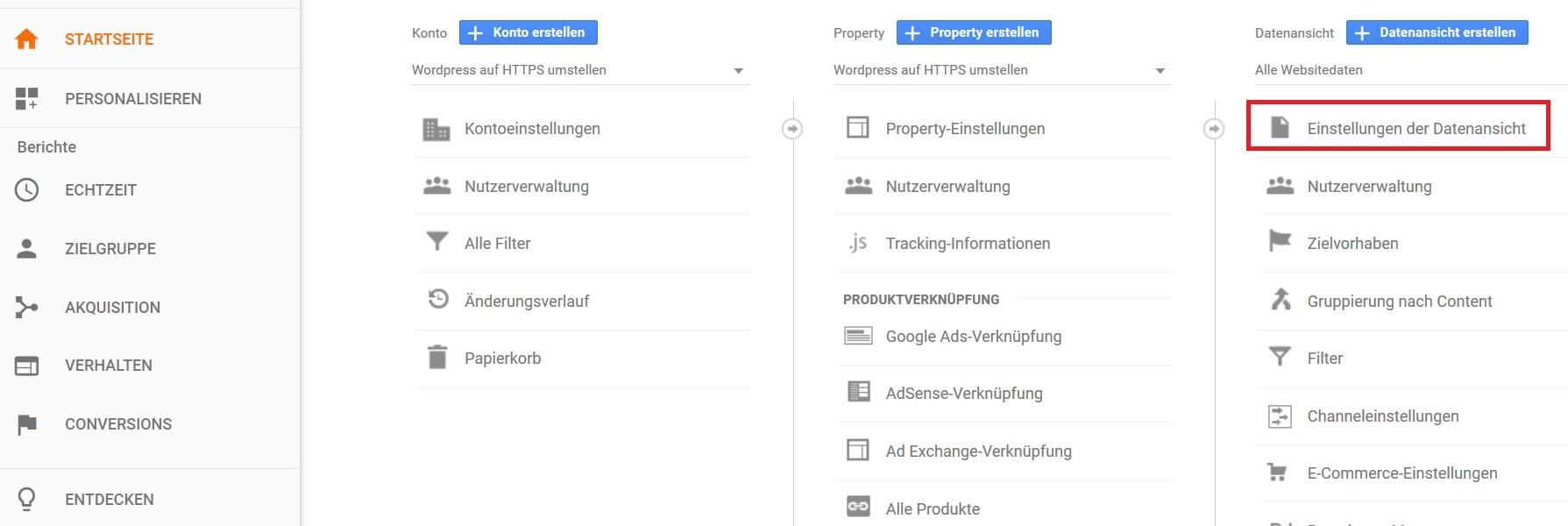 Wordpress auf HTTPS umstellen - Google Analytics anpassen Schritt 3