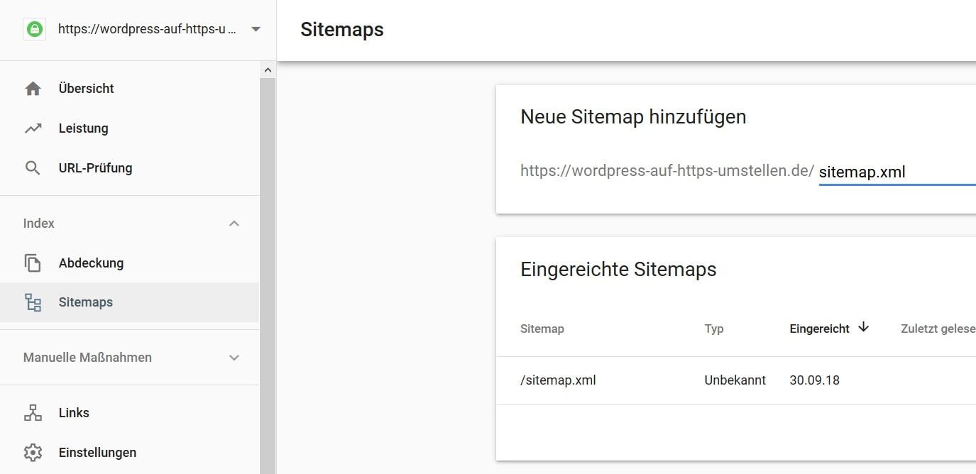 Wordpress auf HTTPS umstellen - Sitemap hinzufügen