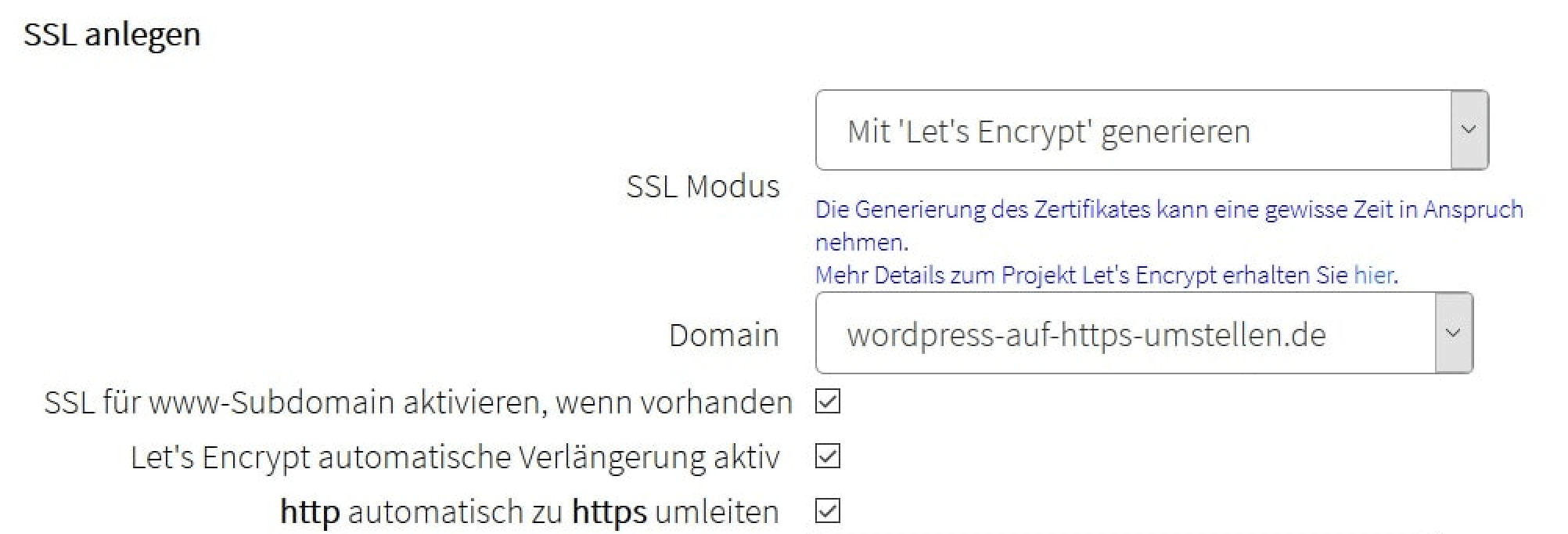 SSL-Modus aktivieren