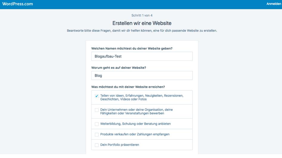 Wordpress Anmeldung Schritt 1