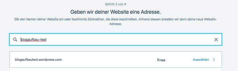 Wordpress Anmeldung Schritt 2