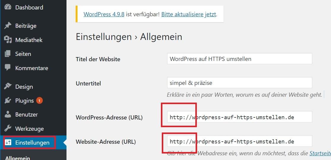 Wordpress auf HTTPS umstellen - Backend umstellen